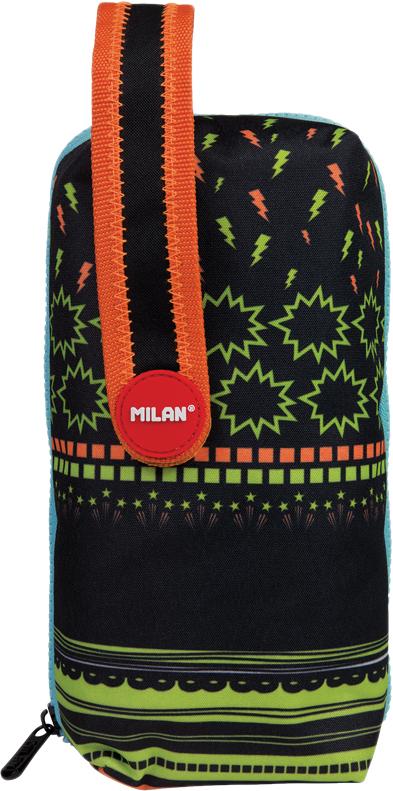 Milan Пенал Super Heroes с наполнением цвет черный зеленый оранжевый -  Пеналы