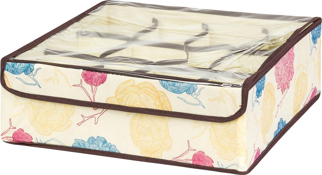 Кофр для хранения вещей EL Casa Яркие пионы, 12 секций, 32 x 32 x 12 см корзинки el casa сумочка интерьерная для хранения натюрморт с фиалками