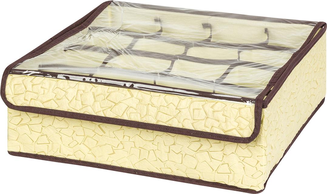 Кофр для хранения вещей EL Casa Песочная мозаика, 16 секций, 32 x 32 x 12 см корзинки el casa сумочка интерьерная для хранения натюрморт с фиалками