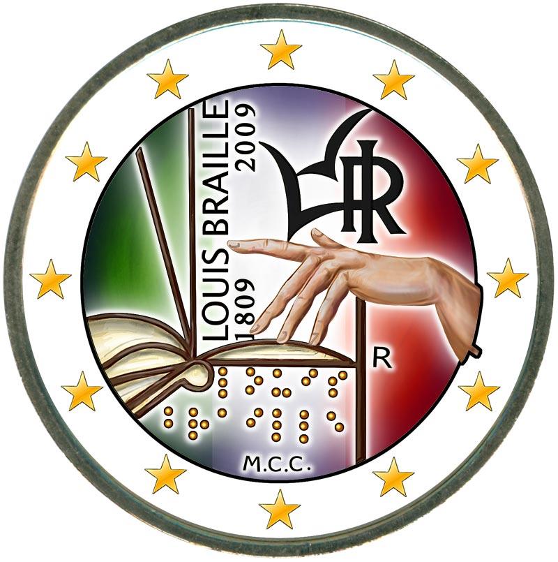 Монета номиналом 2 евро 2009 Италия, 200 лет со дня рождения Луи Брайля (цветная)