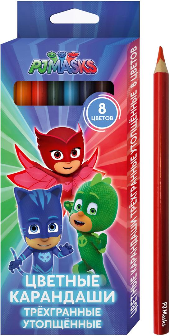 PJ Masks Набор цветных карандашей 8 цветов 34075 pj masks набор толстых восковых карандашей герои в масках 8 цветов 34062