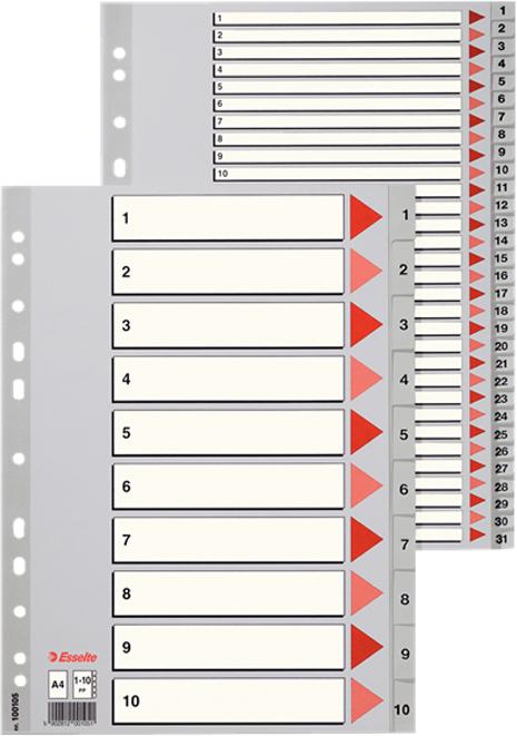Esselte Разделитель для папки А4 1-6 цвет серый