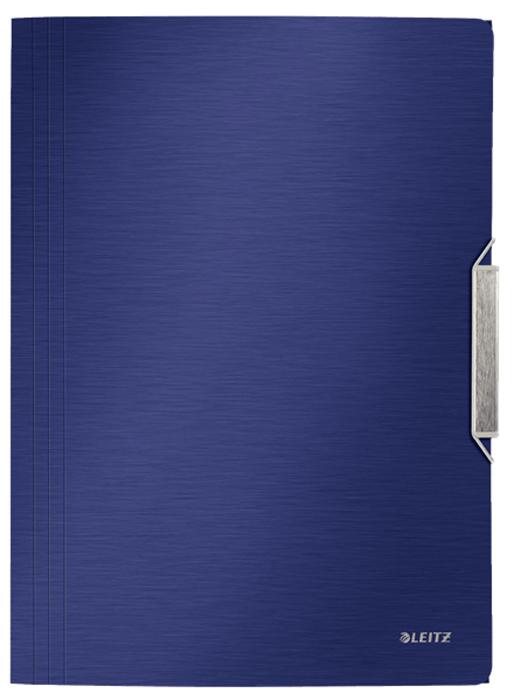 Leitz Папка на резинке Style цвет синий вкладыш уголок с перфорацией leitz combifile ф а4 5 шт 200 мкм синий 47260035