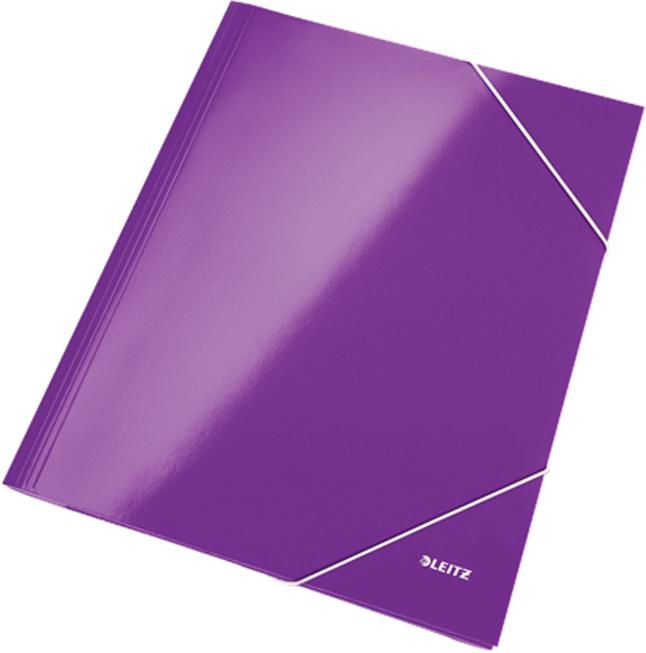 Leitz Папка на резинке WOW ламинированная цвет фиолетовый -  Папки