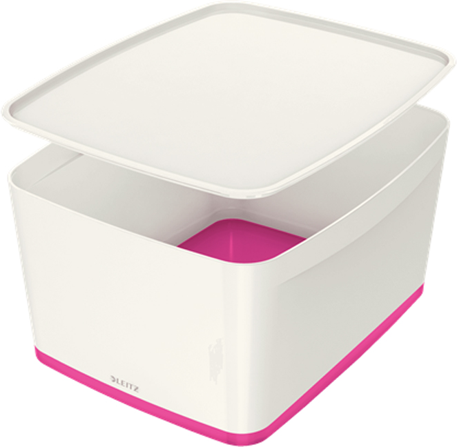Leitz Короб архивный MyBox с крышкой большой цвет белый розовый -  Лотки, подставки для бумаг