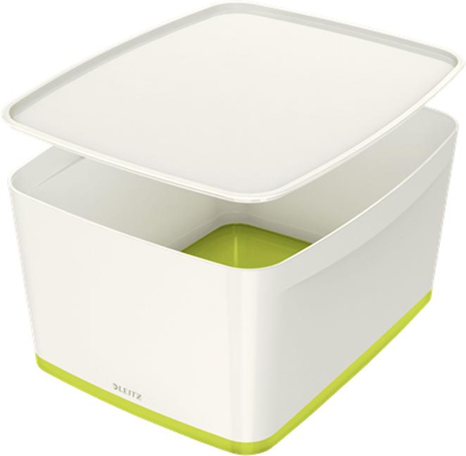 Leitz Короб архивный MyBox с крышкой большой цвет белый зеленый -  Лотки, подставки для бумаг
