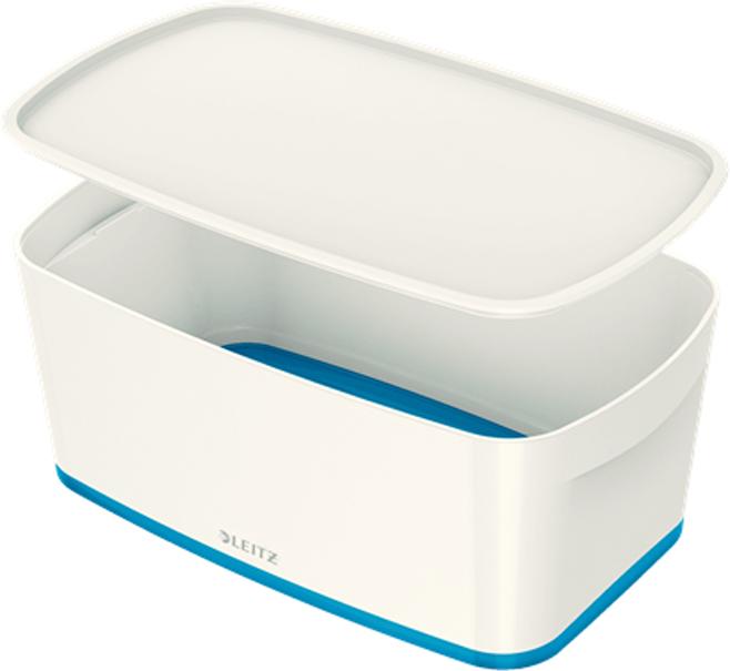 Leitz Короб архивный MyBox с крышкой малый цвет белый синий -  Лотки, подставки для бумаг