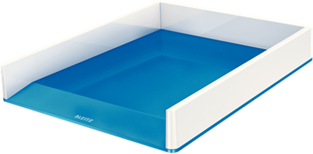 Leitz Лоток для бумаг WOW горизонтальный цвет синий белый leitz лоток для бумаг style горизонтальный цвет белая сталь
