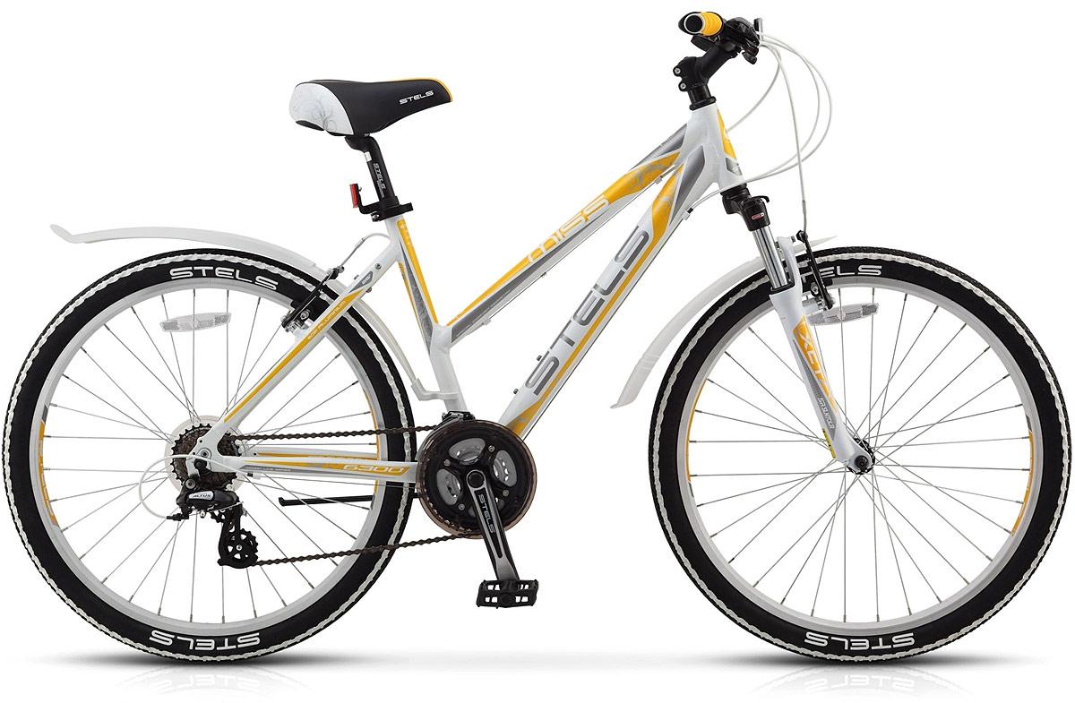Велосипед горный Stels Miss-6300 V 26 V010, цвет: белый, серый, желтый, диаметр колес 26, размер рамы 15,5