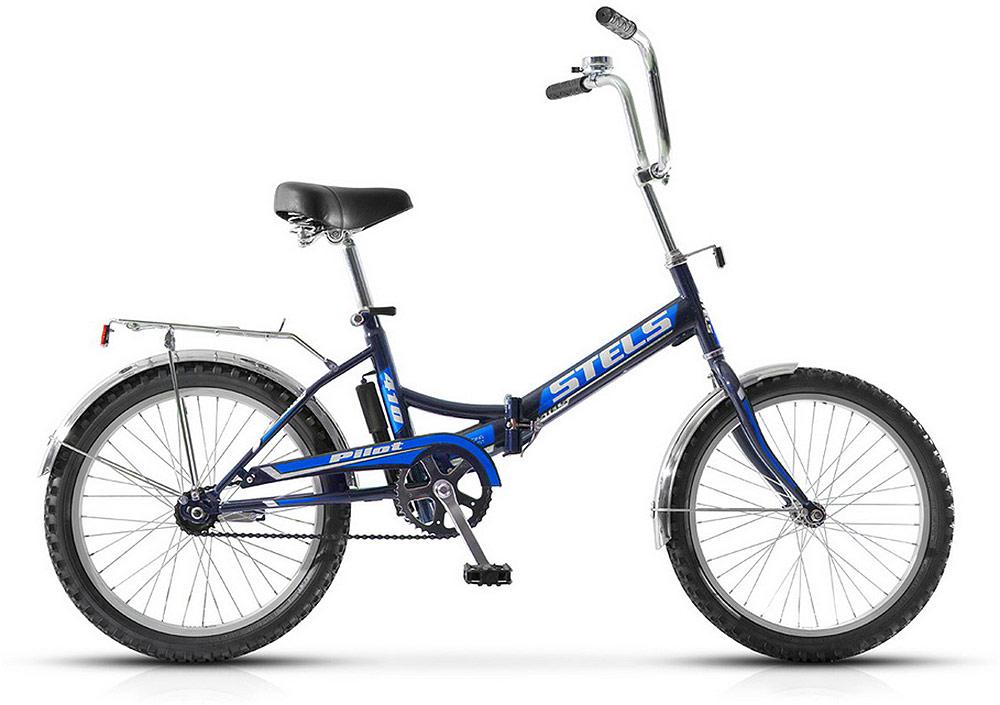 Велосипед детский Stels Pilot-410 20 Z011, цвет: черный, синий, диаметр колес 20, размер рамы 13,5