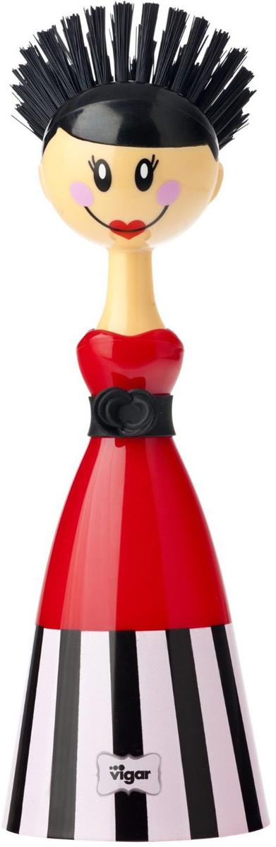 Щетка для посуды Vigar Dolls, цвет: красный, черный. 5300 салфетница vigar цвет фиолетовый красный желтый