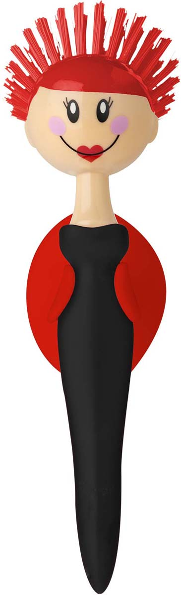 Щетка для посуды Vigar Dolls, цвет: красный, черный. 5933