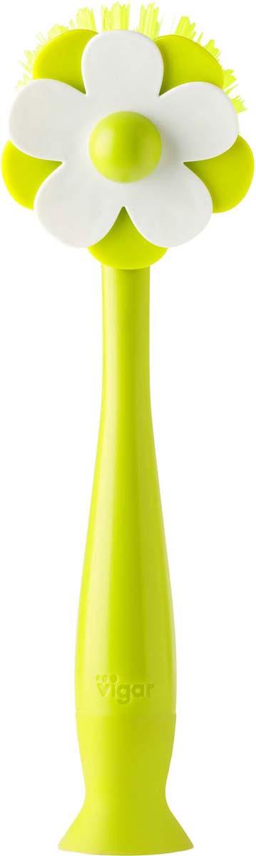 Щетка для посуды Vigar Flor, цвет: зеленый