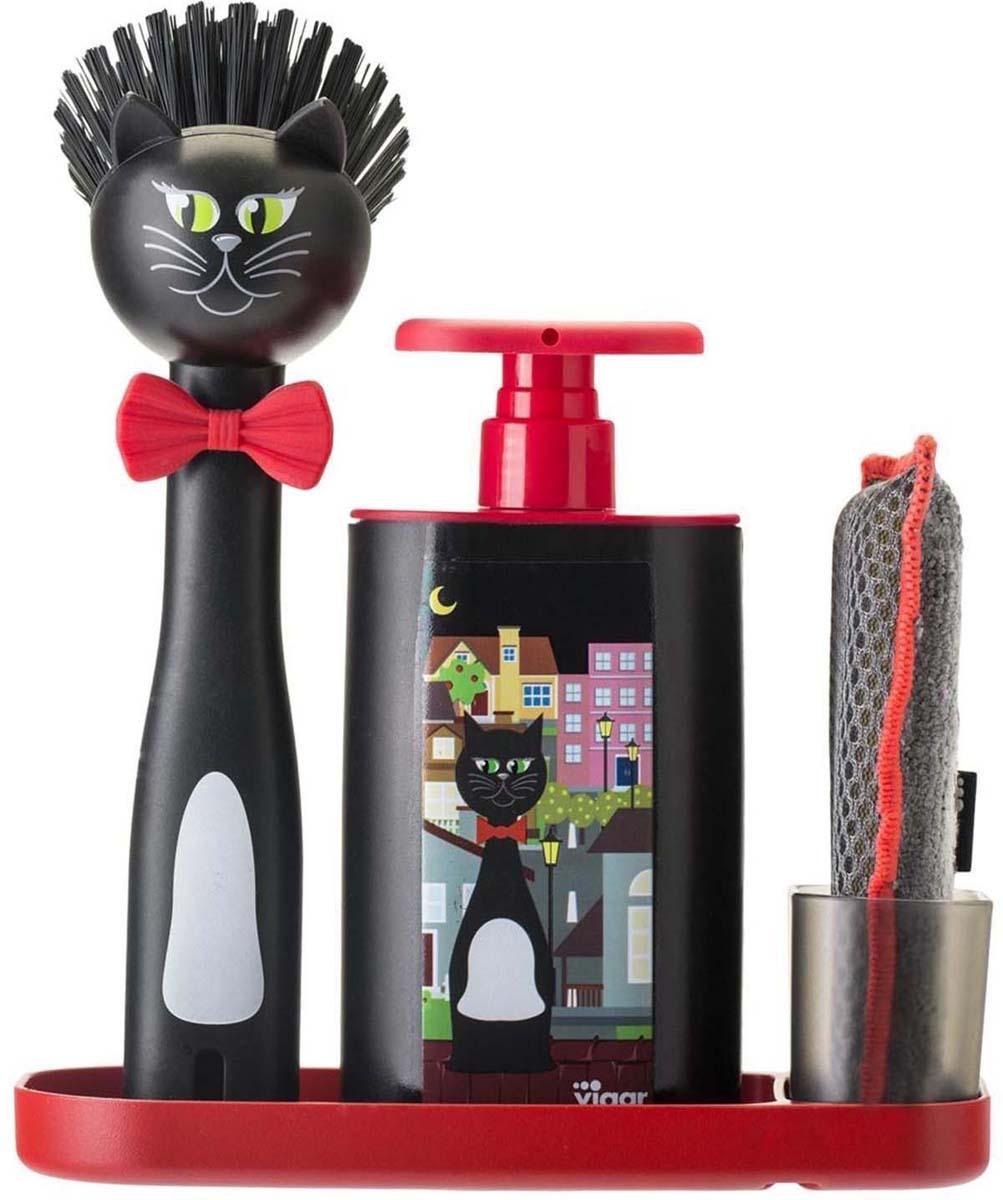 Набор для мытья посуды Vigar Felix, цвет: черный, красный, 3 предмета