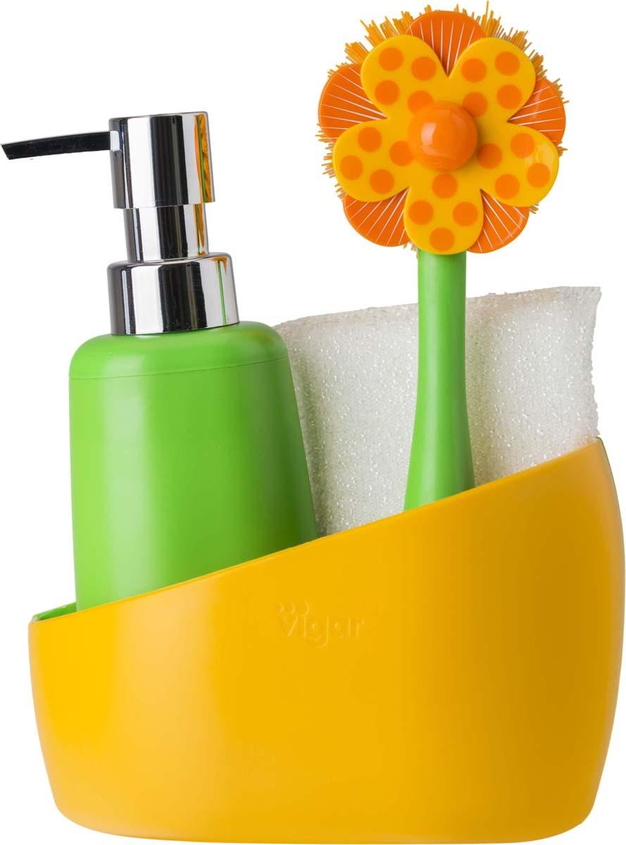 Набор для мытья посуды Vigar Lolaflor, цвет: зеленый, оранжевый, 3 предмета