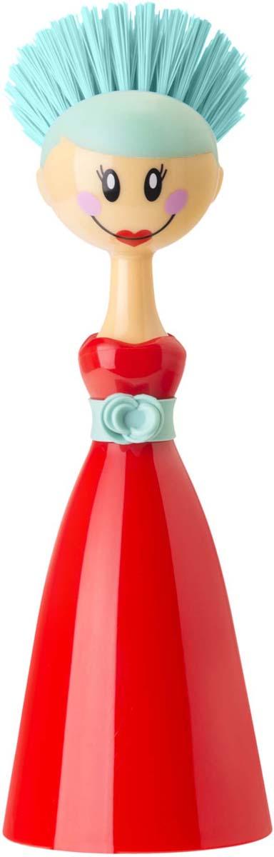 Щетка для посуды Vigar Dolls, цвет: красный, бирюзовый