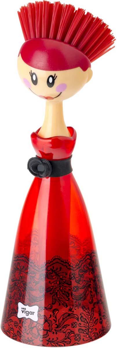 Щетка для посуды Vigar Dolls, цвет: красный, черный. 8028