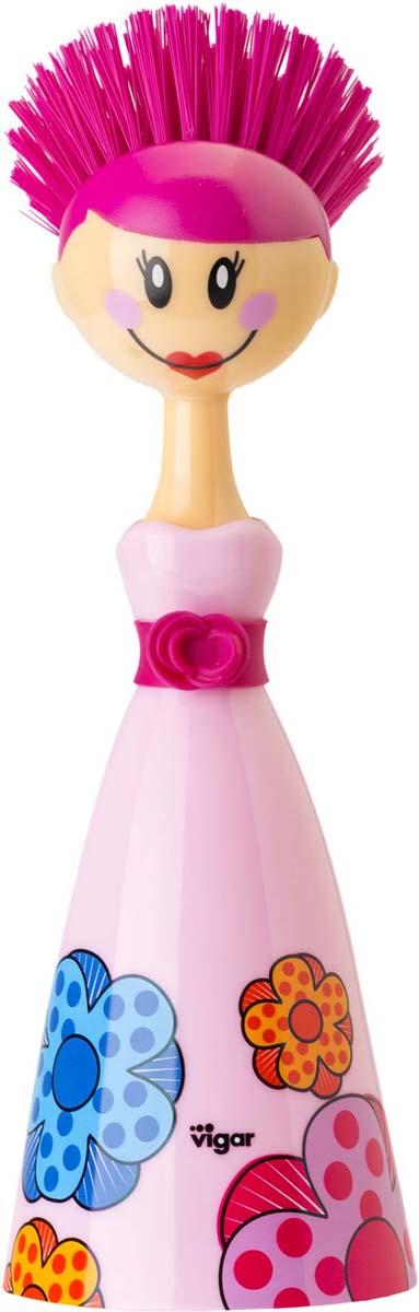 Щетка для посуды Vigar Dolls, цвет: фуксия, розовый