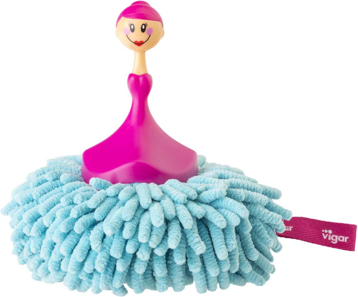 Щетка для уборки Vigar Dolls, цвет: розовый, бирюзовый насадка fit шарошки мини по металлу 36477