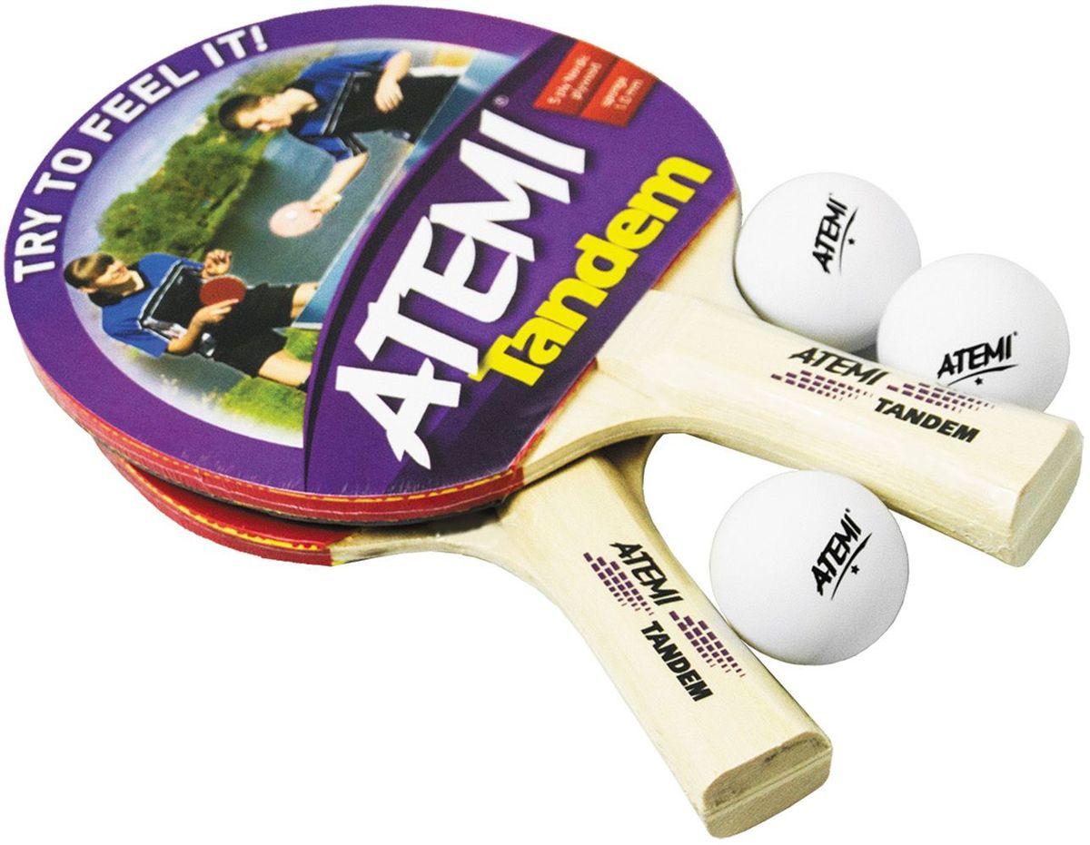 Набор для настольного тенниса Atemi Tandem, цвет: красный, 5 предметов палатка atemi baikal 3 cx