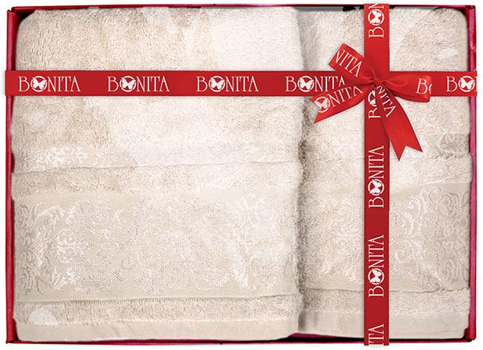 цена на Набор банных полотенец Bonita Дамаск, цвет: светло-бежевый, 70 х 140 см, 2 шт