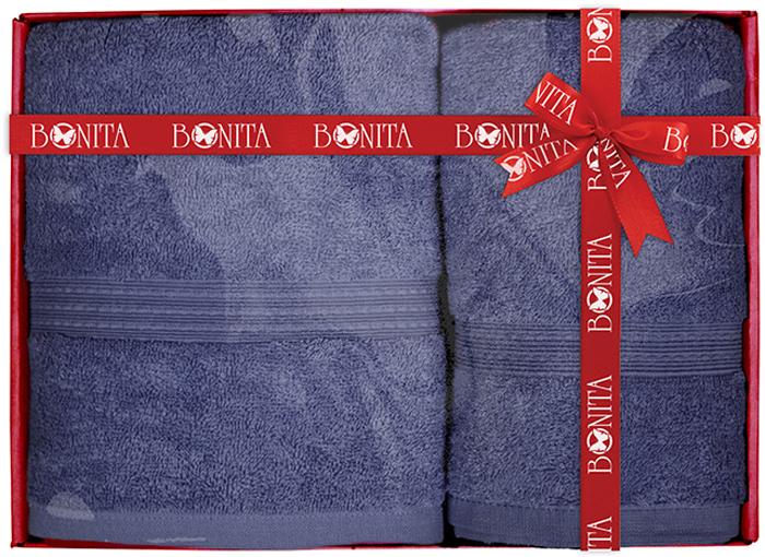 Набор банных полотенец Bonita Classic, цвет: синий, 70 х 140 см, 2 шт набор полотенец bonita французская сирень 45 х 60 см 3 шт