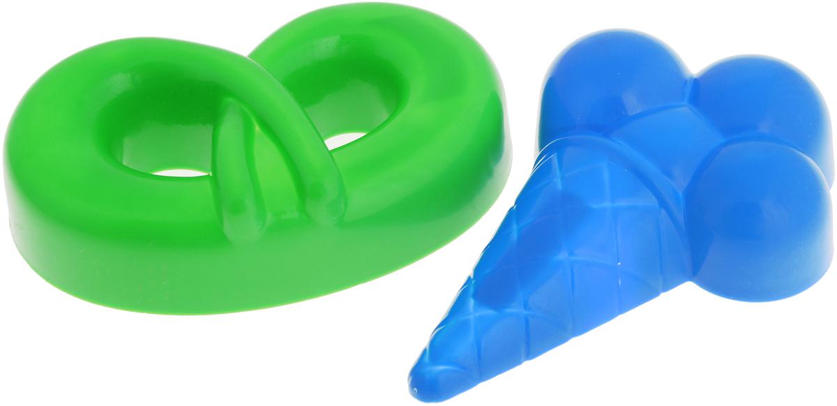 Полесье Игрушка для песочницы Формочки Мороженое Крендель цвет синий желтый 2 шт tosjc синий цвет 65