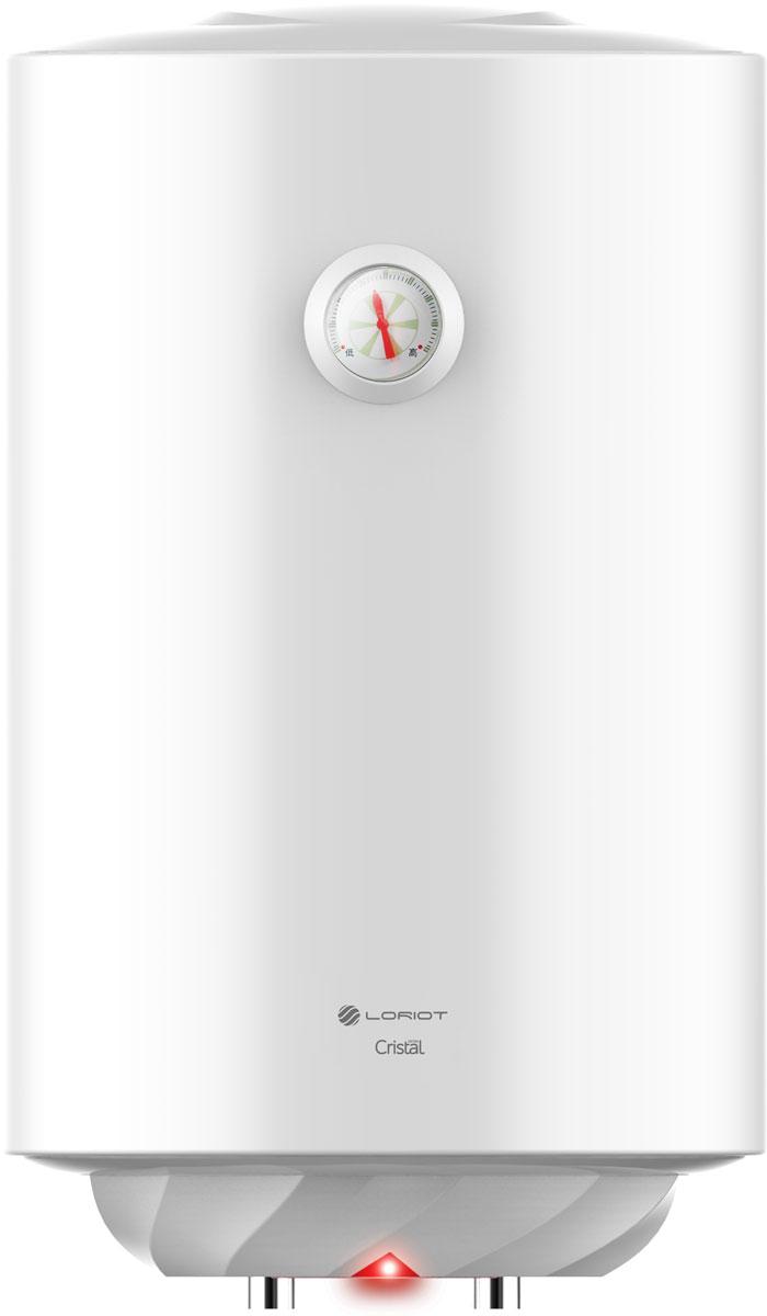 """Белоснежный корпус с оригинальным дизайном основания, все это накопительные водонагреватели Loriot Cristal.  При помощи терморегулятора, Вы всегда можете отрегулировать мощность нагрева воды, а индикатор нагрева всегда поможет контролировать температуру воды в водонагревателе. Высокий уровень энергоэффективности достигается благодаря слою высококачественной теплоизоляции, которая равномерно и """"без пустот"""" заполняет внутреннее пространство между корпусом и внутренним баком.  Медный нагревательный элемент используемый в водонагревателях Cristal имеет увеличенный срок службы благодаря дополнительному специальному защитному покрытию. Увеличенный магниевый анод защищает внутренние резервуары от коррозии и уменьшает количество образующейся накипи во время эксплуатации водонагревателя. Водонагреватель Cristal прослужит действительно долго благодаря двойному слою стеклофарфоровой эмали внутреннего резервуара, нанесенной сухим способом."""