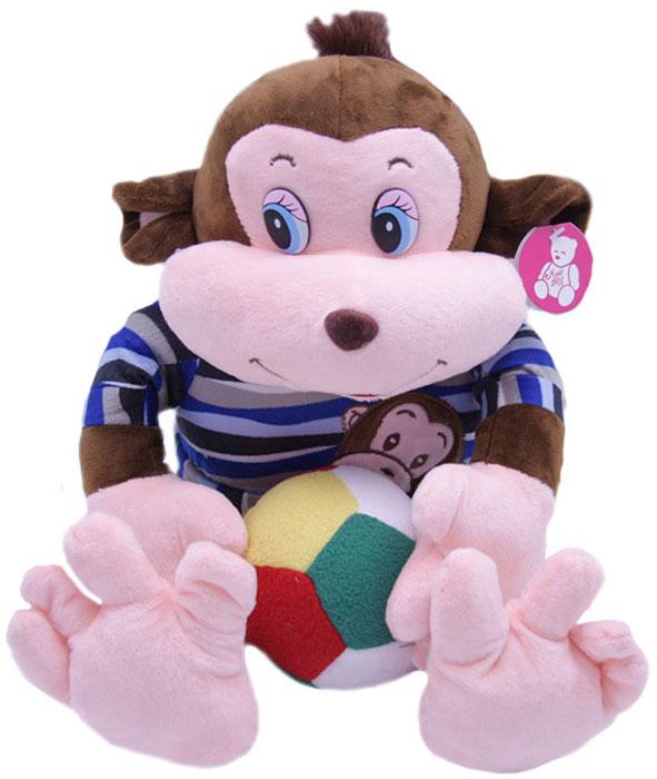 Magic Bear Toys Мягкая игрушка Обезьяна Тихон в свитере с мячом magic bear toys мягкая игрушка медведь с заплатками в шарфе цвет коричневый 120 см