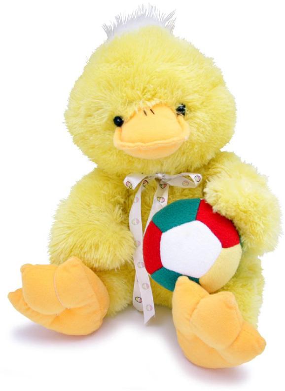 Magic Bear Toys Мягкая игрушка Утка сидит с мячом 35 см magic bear toys мягкая игрушка медведь с заплатками в шарфе цвет коричневый 120 см