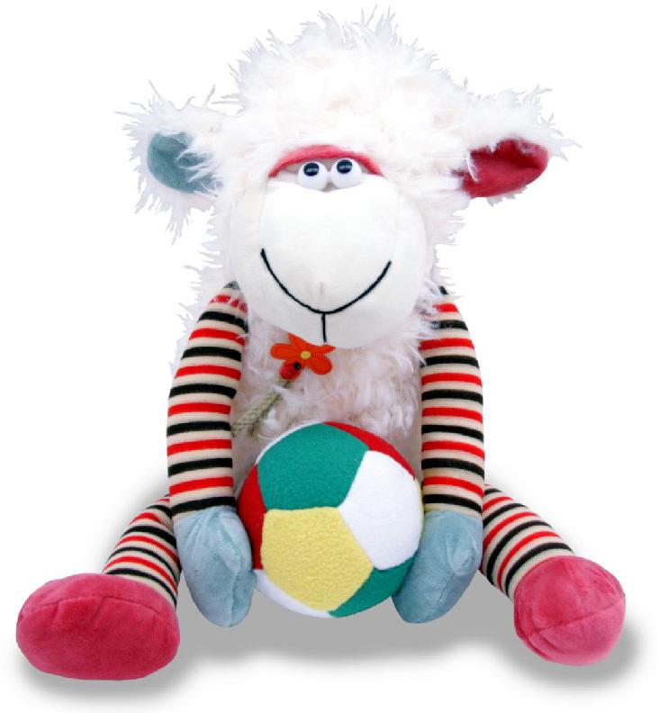 Magic Bear Toys Мягкая игрушка Овечка с мячом 30 см magic bear toys мягкая игрушка медведь с заплатками в шарфе цвет коричневый 120 см