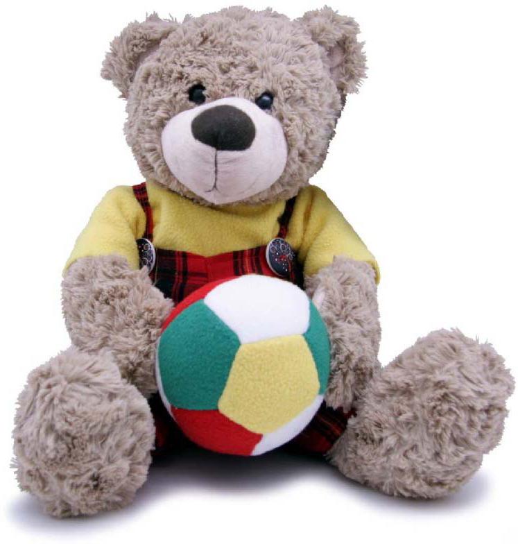 Magic Bear Toys Мягкая игрушка Мишка мальчик с мячом 28 см magic bear toys мягкая игрушка медведь с заплатками в шарфе цвет коричневый 120 см
