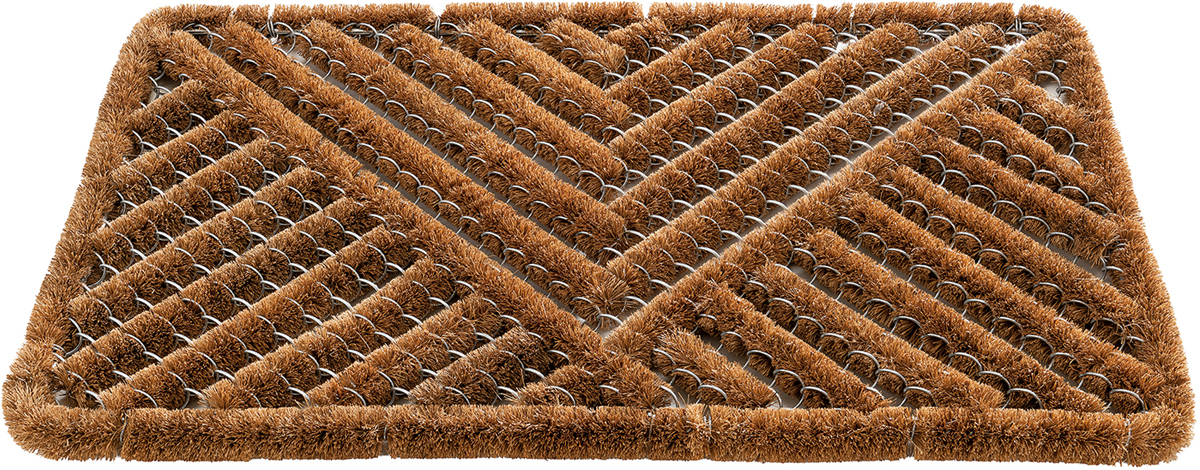 Коврик из кокосового волокна с проволочным каркасом. Жесткие ворсинки идеально справляются с разного рода загрязнениями. Подходит только для уличного использования. Будучи хорошим абсорбентом, волокно из кокоса хорошо впитывает жидкость, что гарантирует чистоту и порядок дома. Пористая структура волокна быстро поглощает воду даже в сухом состоянии и не так быстро насыщается жидкостью, как другие материалы.
