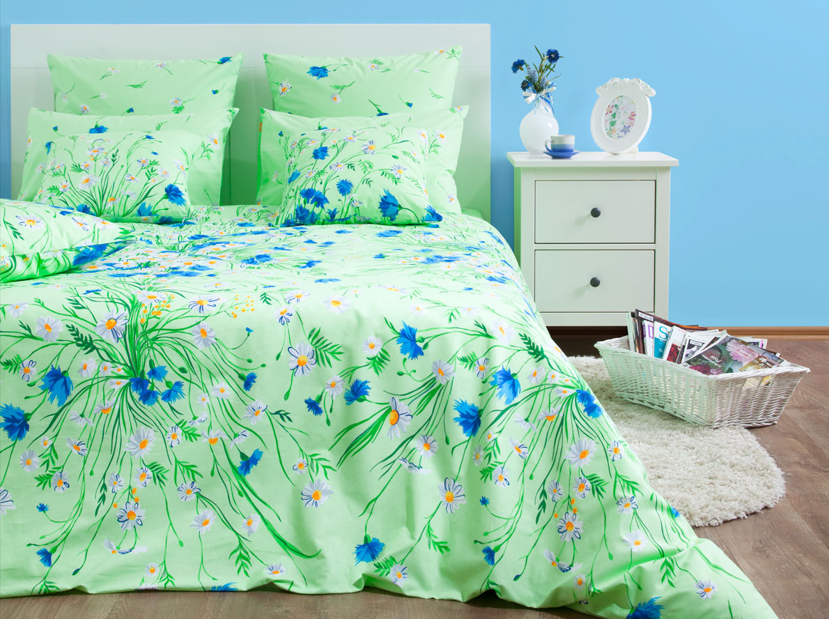 Комплект постельного белья Хлопковый Край Есения, 1,5 спальный, наволочки 70x70, цвет: зеленый комплект постельного белья хлопковый край жаклин 2 х спальный наволочки 70x70 цвет брусничный