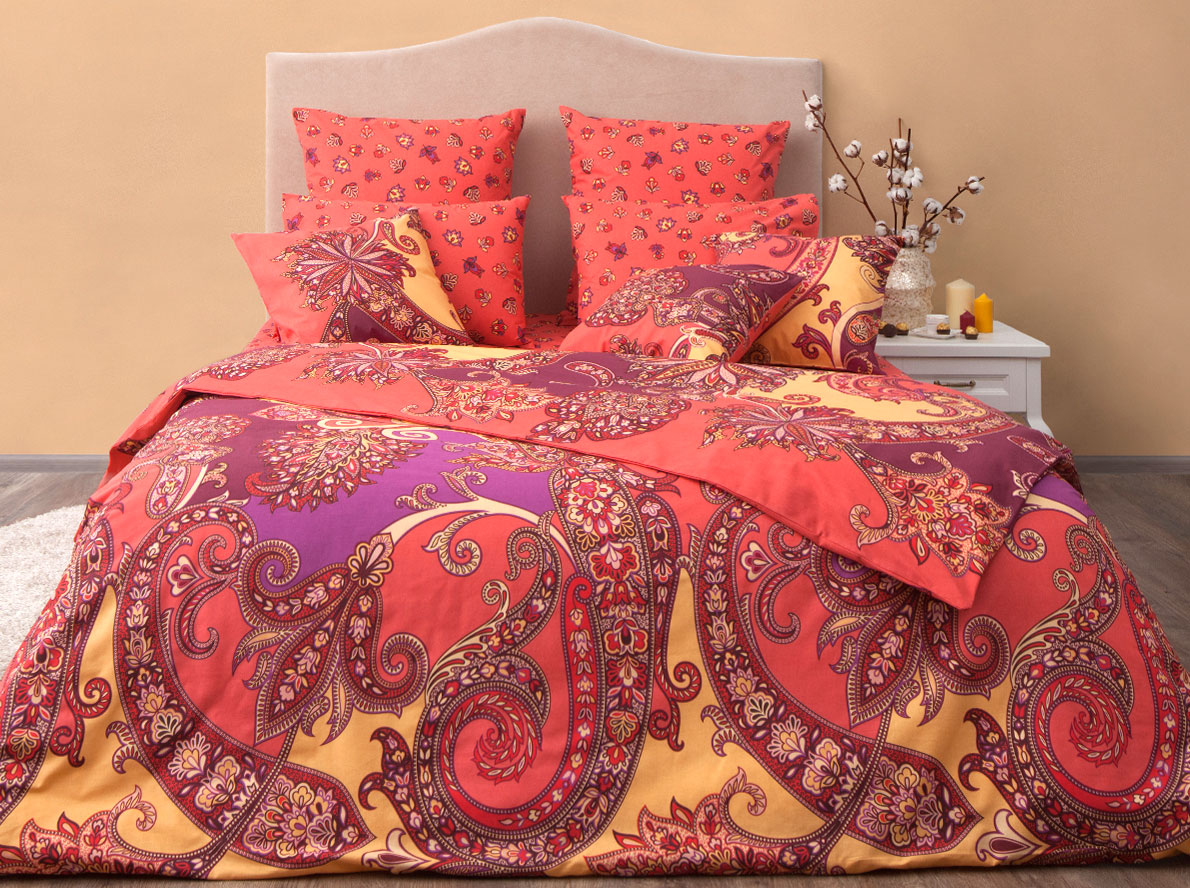 Комплект постельного белья Хлопковый Край Анамур, евро, наволочки 50x70, 70x70, цвет: карамельный