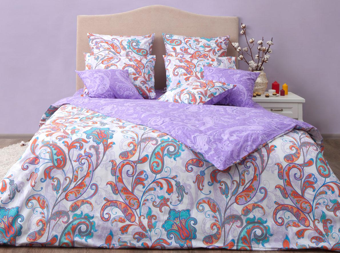 Комплект постельного белья Хлопковый Край Кемер, семейный, наволочки 70x70, цвет: перламутровый