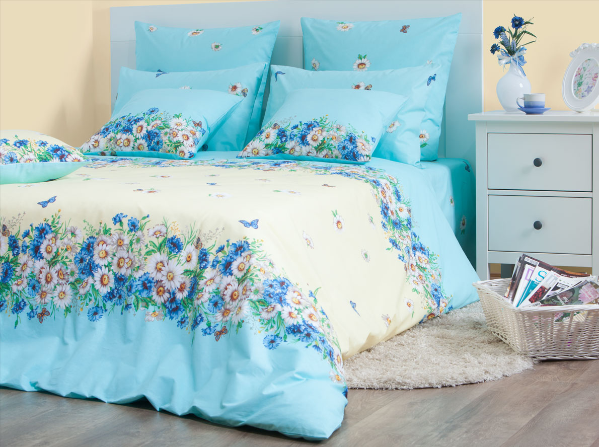 Комплект постельного белья Хлопковый Край Камилла, семейный, наволочки 70x70, цвет: голубой