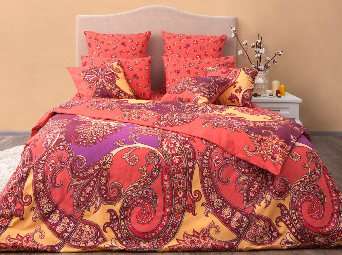 Комплект постельного белья Хлопковый Край Анамур, семейный, наволочки 70x70, цвет: карамельный