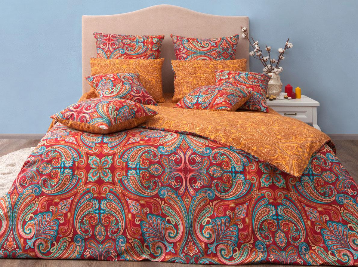 """Комплект постельного белья Хлопковый Край """"Анкара"""", 1,5 спальный, наволочки 70x70, цвет: бургунди"""