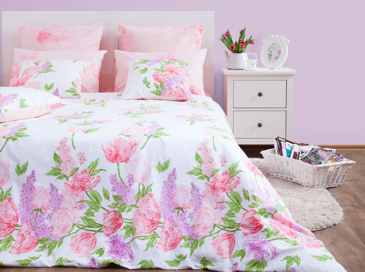 Комплект постельного белья Хлопковый Край Линда, 1,5 спальный, наволочки 70x70 комплект постельного белья хлопковый край валентинка 5024 1