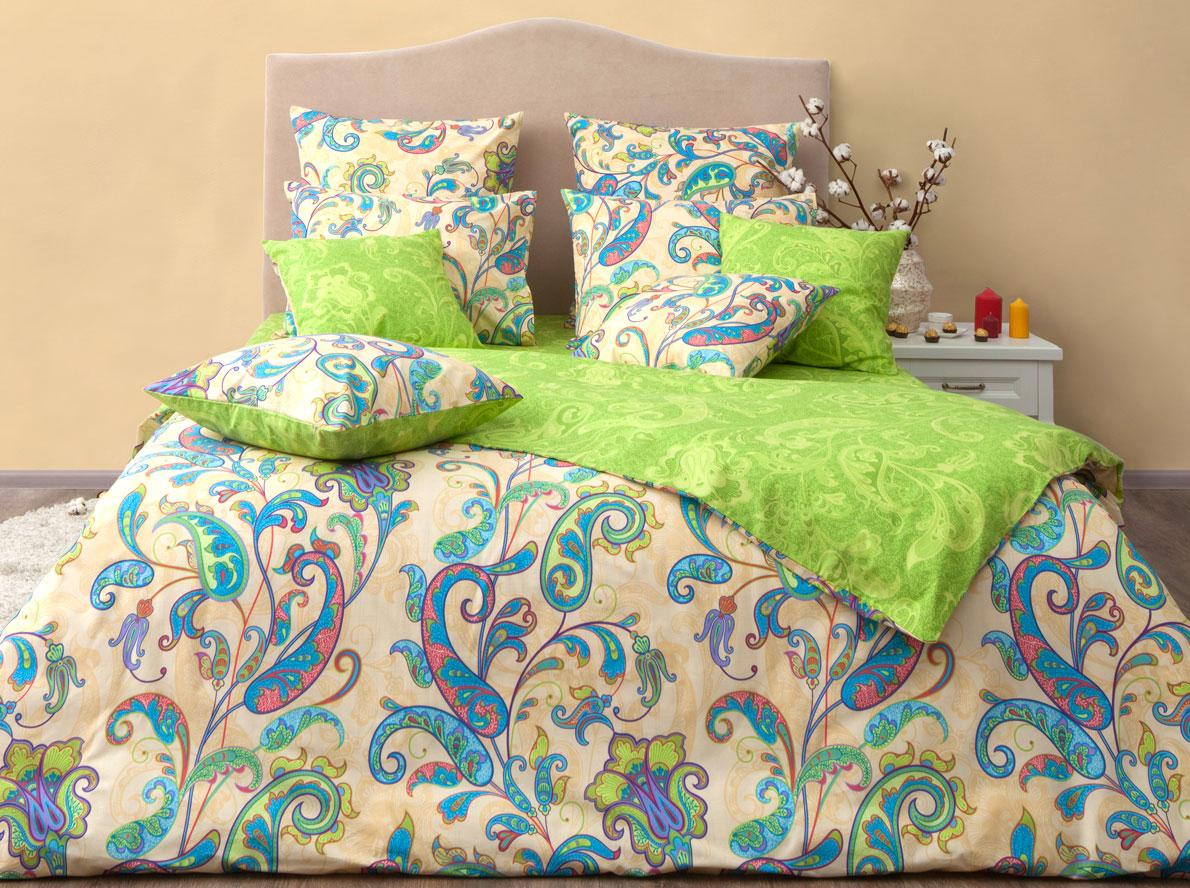 Комплект постельного белья Хлопковый Край Кемер, 1,5 спальный, наволочки 50x70, цвет: лайм комплект постельного белья хлопковый край есения евро наволочки 50x70 70x70 цвет зеленый