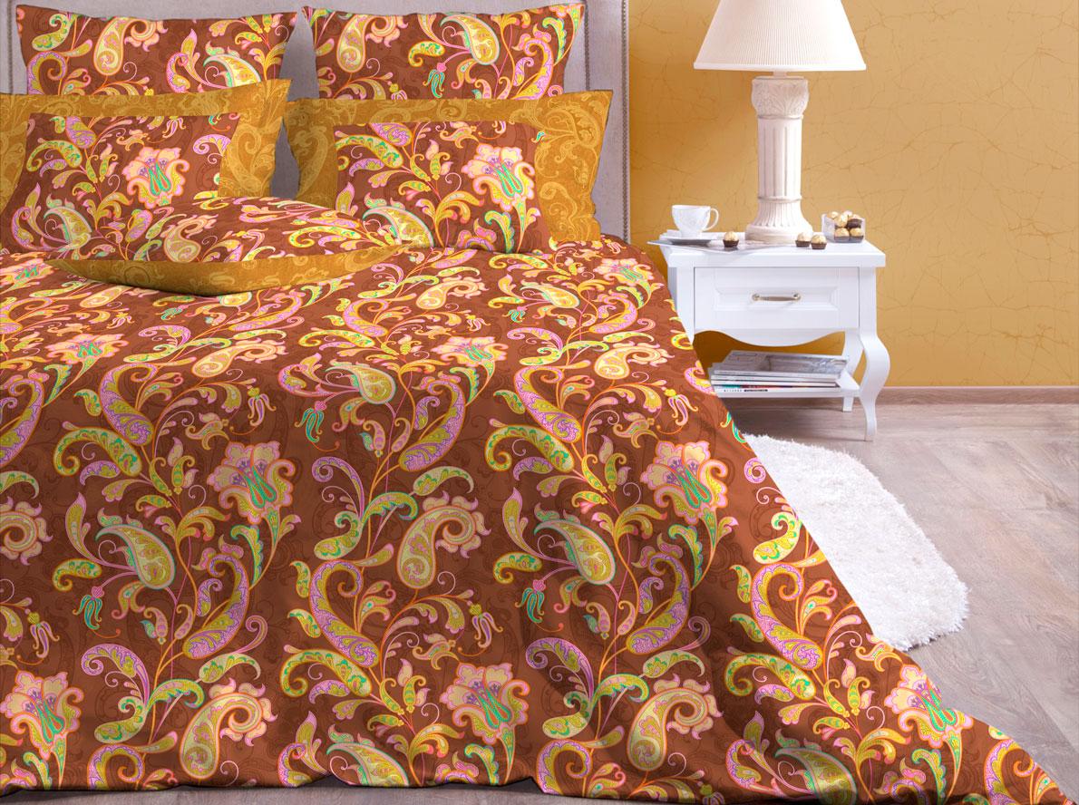 Комплект постельного белья Хлопковый Край Кемер, евро, наволочки 50x70, 70x70, цвет: мокко