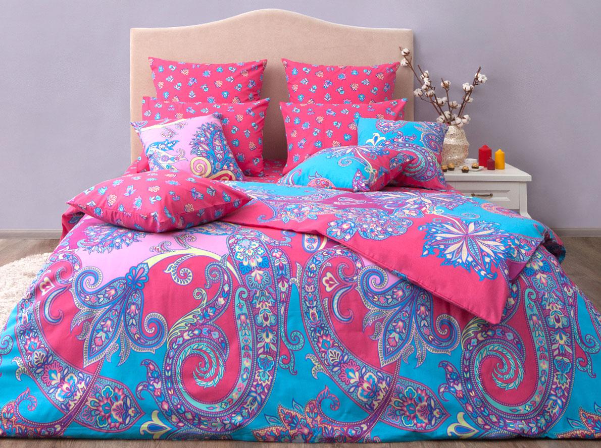 """Комплект постельного белья Хлопковый Край """"Анамур"""", 1,5 спальный, наволочки 50x70, цвет: коралловый"""