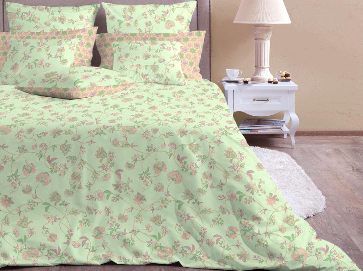 Комплект постельного белья Хлопковый Край Элизабет, евро, наволочки 50x70, 70x70, цвет: фисташковый ecotex постельное белье элизабет