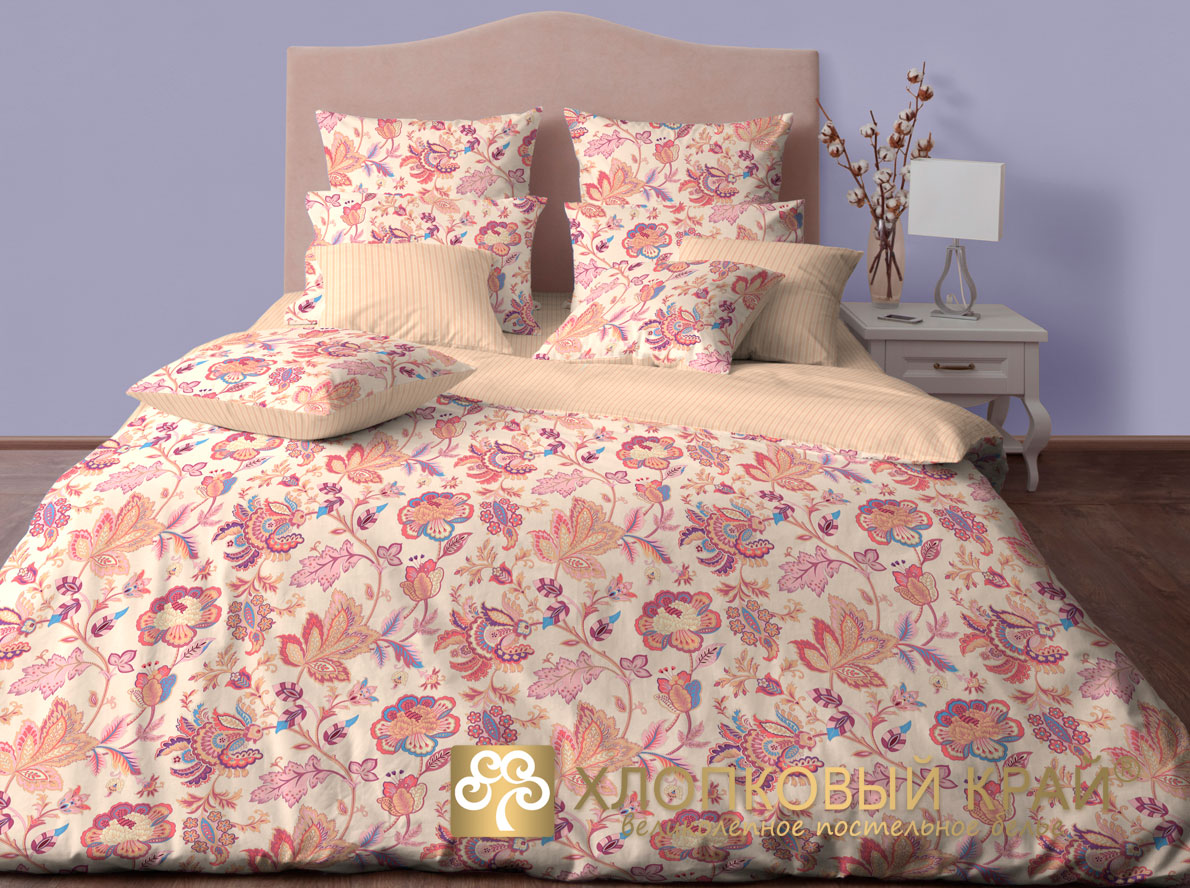 Комплект постельного белья Хлопковый Край Жаклин, 1,5 спальный, наволочки 50x70, цвет: брусничный постельное белье хлопковый край постельное белье