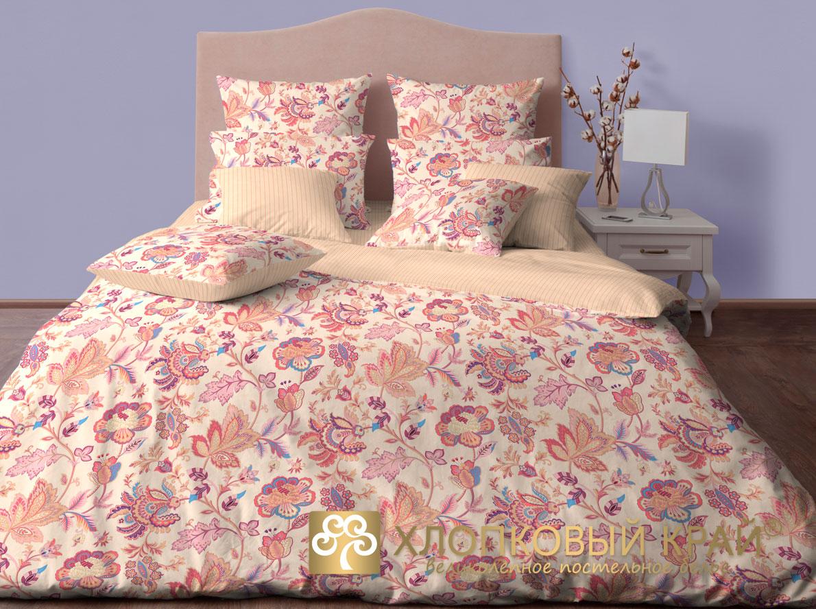 Комплект постельного белья Хлопковый Край Жаклин, 2-спальный, наволочки 50x70, цвет: брусничный простыня на резинке хлопковый край