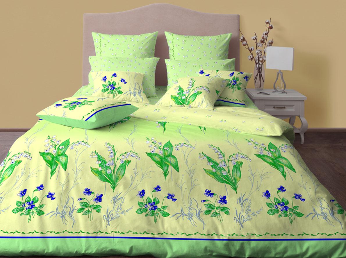Комплект постельного белья Хлопковый Край Ландыши, семейный, наволочки 70x70