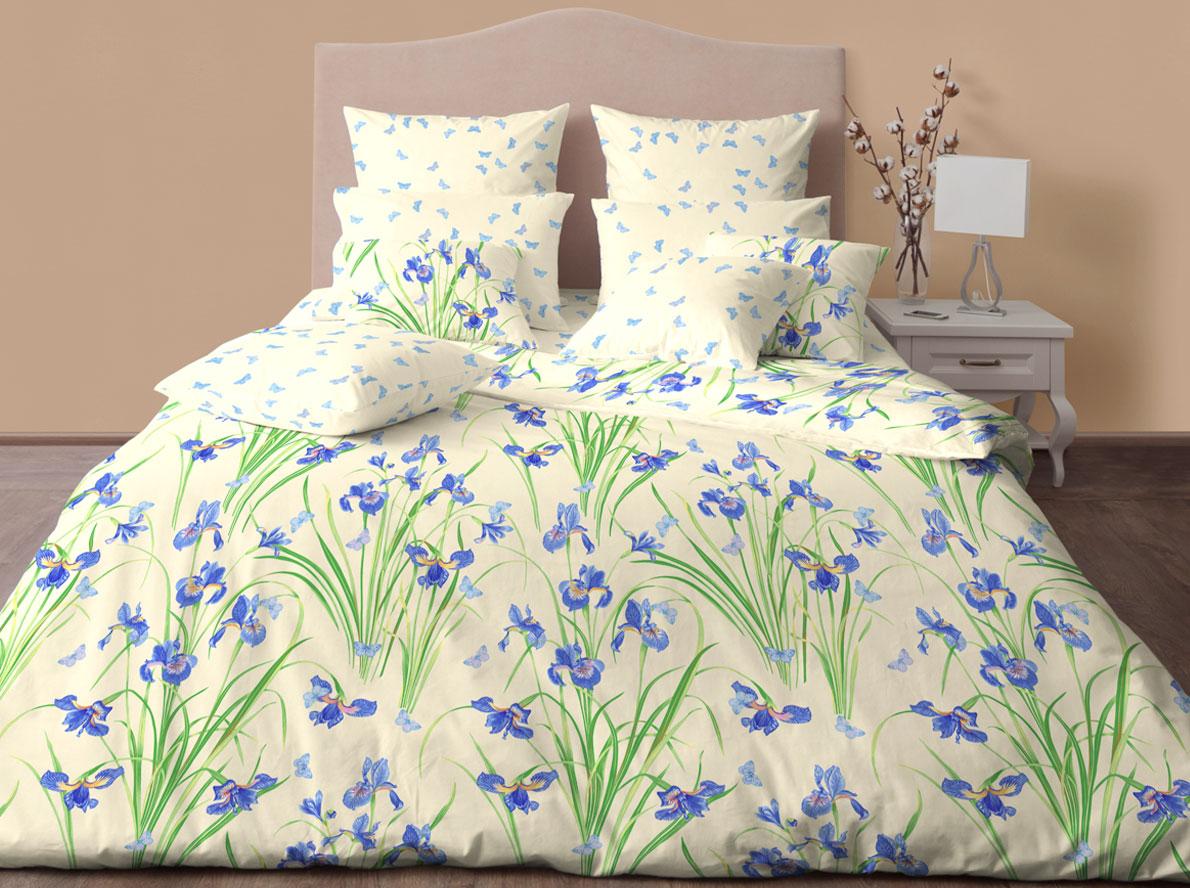 Комплект постельного белья Хлопковый Край Ирисы, евро, наволочки 50x70, 70x70