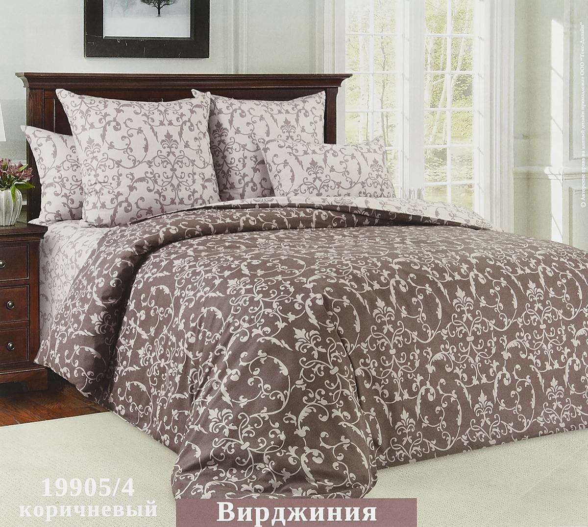 Комплект белья Текс Дизайн Вирджиния, семейный, наволочки 70x70, цвет: коричневый комплект белья текс дизайн моцарт 2 спальный наволочки 70x70 2200п