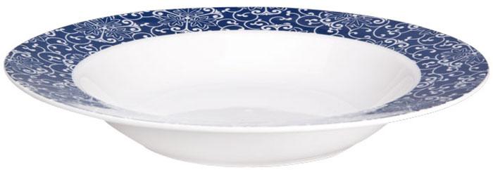 Тарелка суповая Miolla Синие узоры, диаметр 20 см тарелка суповая фиц строуберри диаметр 20 см 897824